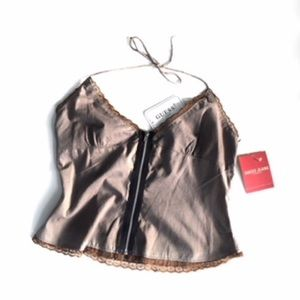 Guess Camisole Brown  Halter Top w Zipper Front S